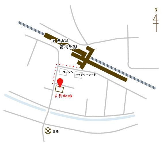 大月珈琲地図